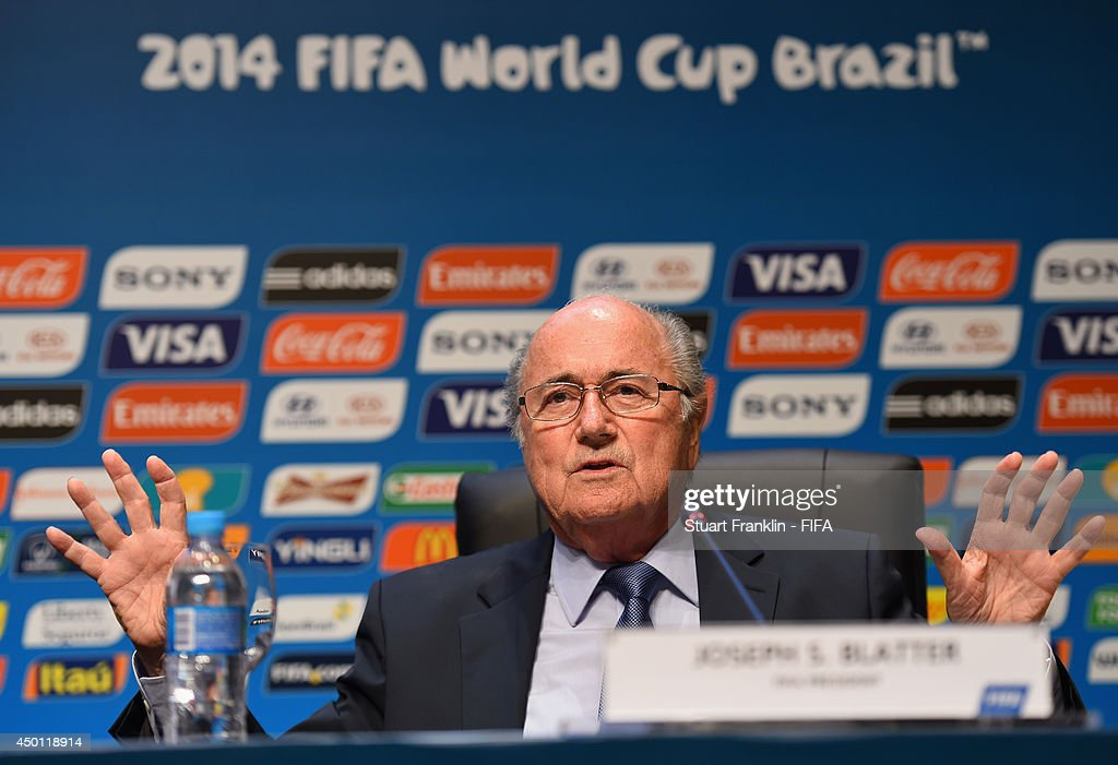 President Joseph S.Blatter addresses the media during the press conference following the meeting of the Organizing Committee for the FIFA 2014 World Cup prior to the start of the 2014 FIFA World Cup Organising Committee meeting at the Grand Hyatt Sao Paulo Hotel on June 5, 2014 in Sao Paulo, Brazil.