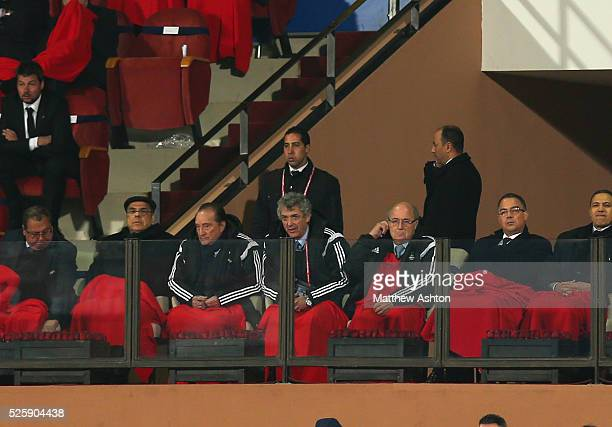 President Joseph Sepp Blatter watches the FIFA Club World Cup 2014 Match 6 Semi Final San Lorenzo v Auckland City after Michael Garcia resigned