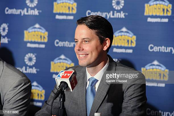 President Josh Kroenke of the Denver Nuggets answers questions from the media regarding the hiring of Brian Shaw during the press conference on June...