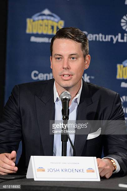 President Josh Kroenke of the Denver Nuggets talks to the media during a press conference on June 30 2014 at the Pepsi Center in Denver Colorado NOTE...