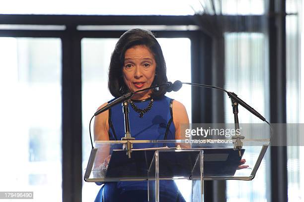 President Joyce F Brown speaks at The Couture Council of The Museum at the Fashion Institute of Technology hosted luncheon honoring Michael Kors with...
