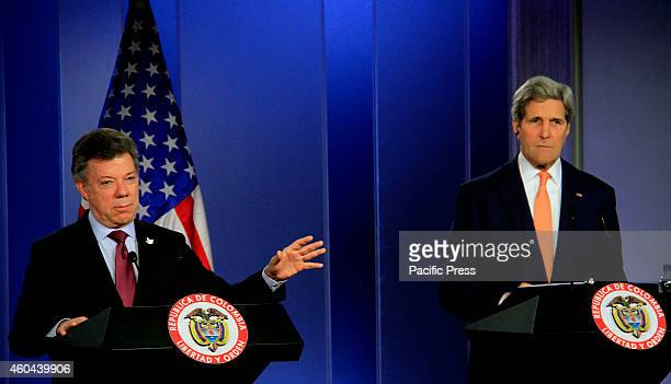 President Juan Manuel Santos and US Secretary of State John Kerry at Narino's Palace during a press conference The main theme in the meeting was the...