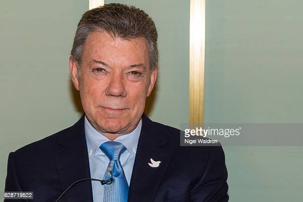 President Juan Manuel Santos of Colombia attends the press conference at the Norwegian Nobel Institute on December 9, 2016 in Oslo, Norway. Santos...