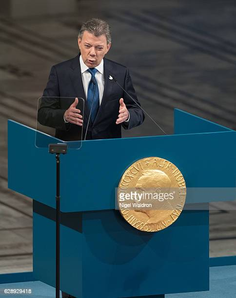 President Juan Manuel Santos of Colombia delivers his acceptance speech during the Nobel Peace Prize ceremony at Oslo Town Hall on December 10, 2016...