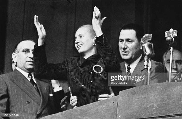 President Juan Perón and his wife Eva Perón celebrate the Día de la Lealtad or Loyalty Day in Argentina 17th October 1951 The day commemorates the...