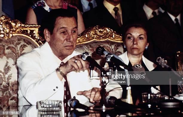 President Juan Peron and Vice President Maria Estela de Peron of Argentina during press conference