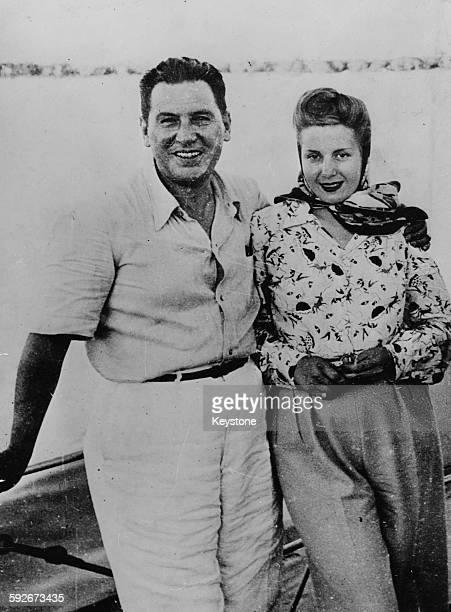 President Juan Peron of Argentina and his wife Eva Peron pictured on a yachting trip 1945