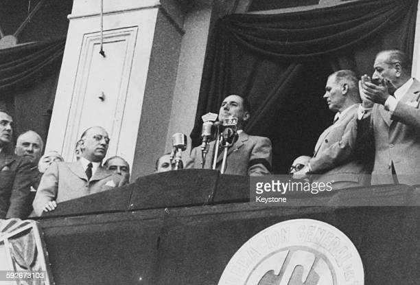 President Juan Peron of Argentina speaking from the balcony of the Plaza Del Mayo in Buenos Aires April 20th 1953
