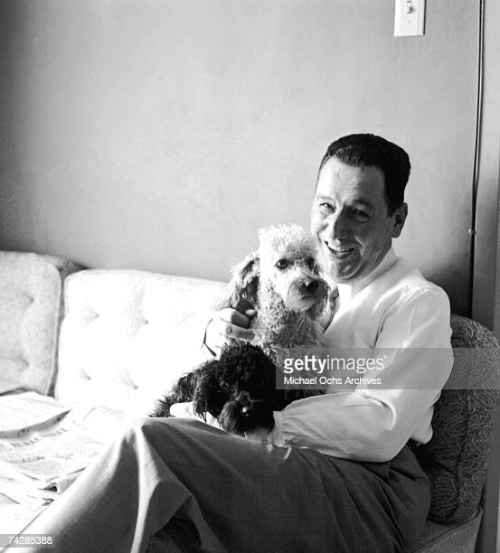 President Juan Peron poses with his two dogs circa 1950 in Buenos Aires Argentina