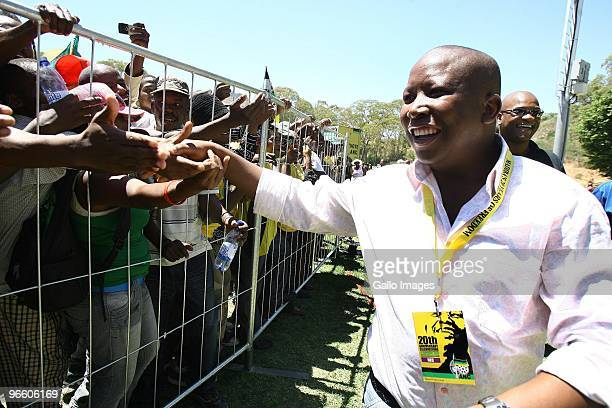 President Julius Malema greets the crowd of people celebrating the 20th anniversary of Nelson Mandela�s release from prison at Groot Drakenstein,...