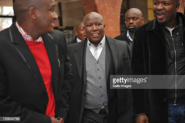President Julius Malema on July 28, 2011 in Queenstown, South Africa. Malema is visiting the town for the court case of Gerdus Greyvenstein who...