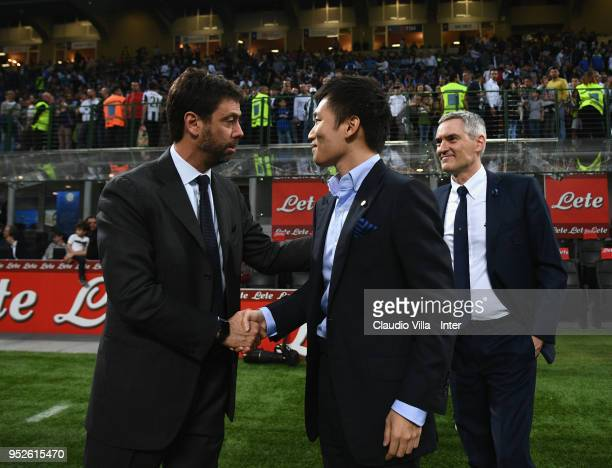 President Juventus FC Andrea Agnelli and FC Internazionale Milano board member Steven Zhang Kangyang chat prior to the serie A match between FC...