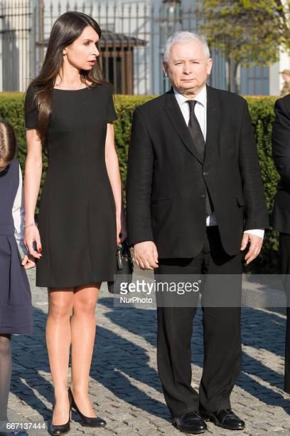 President Kaczynski daughter Marta Kaczynska with daughers and Leader of 'Law and Justice' party Jaroslaw Kaczynski during ceremonies commemorating...