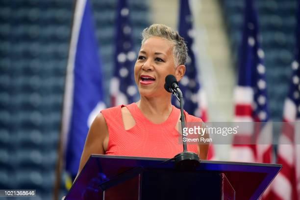 President Katrina Adams speaks during the Louis Armstrong Stadium Dedication Ceremony at USTA Billie Jean King National Tennis Center on August 22,...