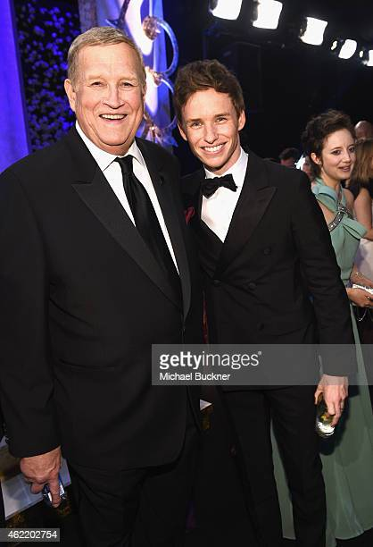 President Ken Howard and actor Eddie Redmayne attend TNT's 21st Annual Screen Actors Guild Awards cocktail reception at The Shrine Auditorium on...