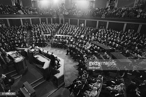 President Kennedy addressed a joint session of Congress on May 25 in which he called for the need to face hardship and sacrifice to meet an...