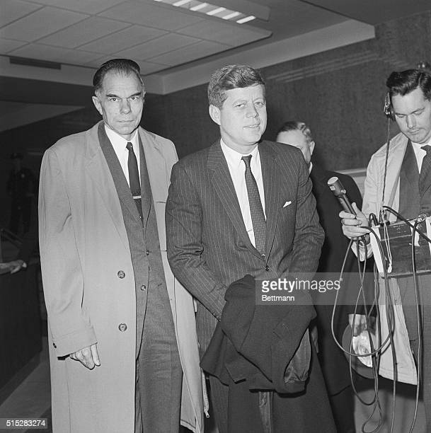 President Kennedy and Atomic Energy Commission Chairman Glenn Seaborg following the President's visit to the AEC Headquarters in Germantown Maryland