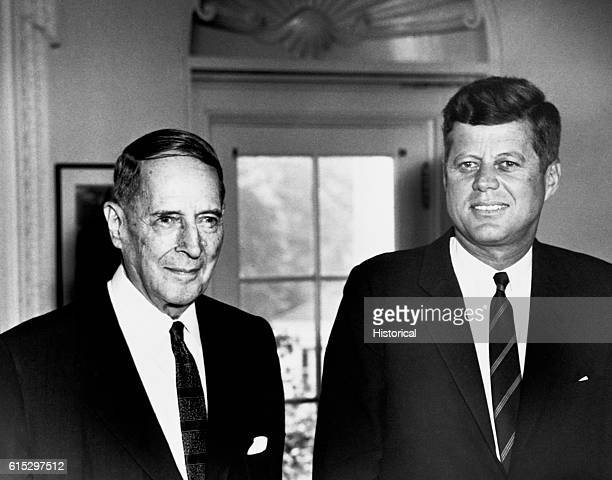 President Kennedy and General Douglas MacArthur meet at the White House August 16 1962