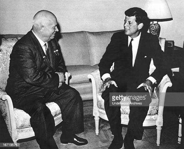 President Kennedy and Soviet Premier Nikita Khrushchev meet at the American ambassador's residence in Vienna Vienna Austria June 3 1961