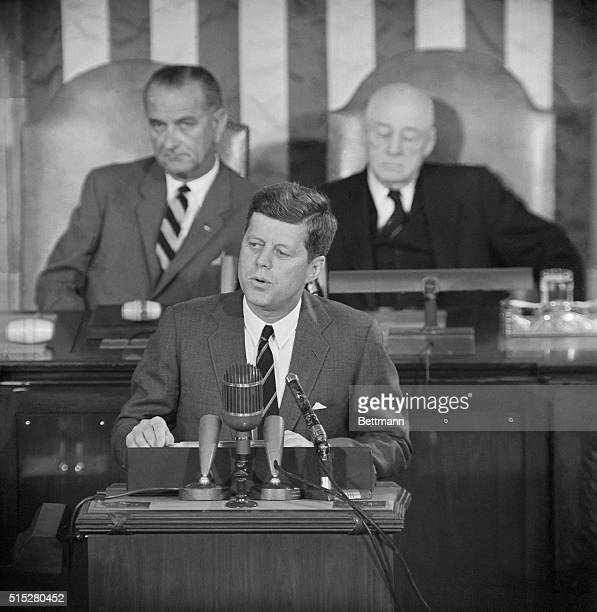 President Kennedy delivers a special message to a joint session of Congress in the House chamber here today. He called for a vast new Federal...