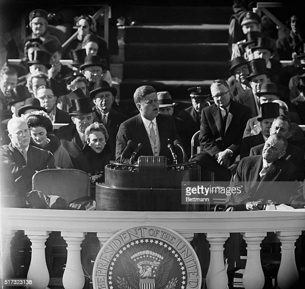 President Kennedy delivers his inauguration speech on January 20 1961