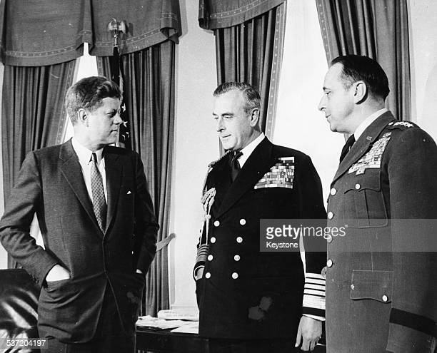 US President Kennedy Lord Louis Mountbatten and US Army Chief Lyman Lemnitzer in the Oval Office of the White House Washington DC April 13th 1961