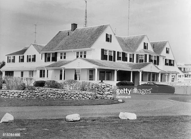 President Kennedy used the home of his father at Hyannis Port for a meeting with Canadian Prime Minister Lester B Pearson Shown is the home of Joseph...