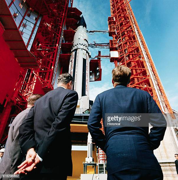 President Kennedy views a Saturn Rocket at Cape Canaveral