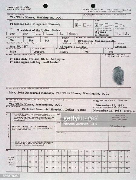 President Kennedy's Death Certificate News Photo   Getty Images