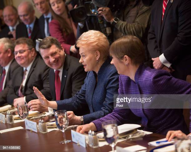 President Kersti Kaljulaid of Estonia President Dalia Grybauskaite of Lithuania and President Raimonds Vejonis of Latvia participate in a meeting...
