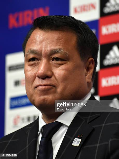 JFA president Kozo Tashima attends a press conference a day after Japan's qualification for the FIFA World Cup Russia on September 1 2017 in Saitama...