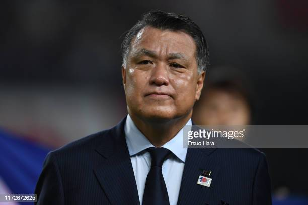 JFA president Kozo Tashima looks on prior to the international friendly match between Japan and Paraguay at Kashima Soccer Stadium on September 05...