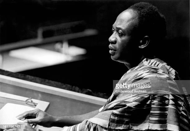 President Kwame Nkrumah of Ghana addresses the General Assembly of the United Nations New York New York September 23 1960
