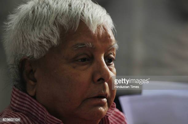 President Lalu Prasad during a press conference after Bihar politics high voltage drama at State Guest House Morahbadi on July 27 2017 in Ranchi...