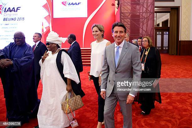 President Lamine Diack and his wife Bintou Diack arrives with Lord Sebastian Coe and his wife Carole Coe for the IAAF Congress Opening Ceremony at...