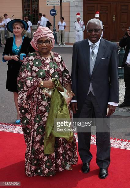IAAF president Lamine Diack and his wife Bintou Diack attend the religious ceremony of the Royal Wedding of Prince Albert II of Monaco to Princess...