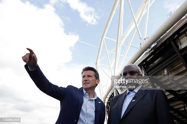 President Lamine Diack and LOCOG chairman Lord Sebastian Coe visit the London 2012 Olympic stadium site in Stratford on August 5 2011 in London...