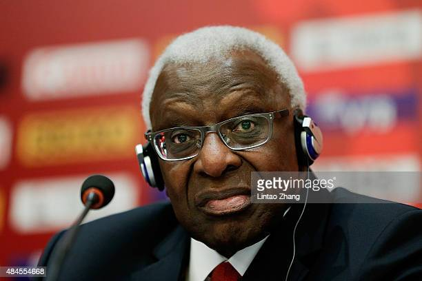 President Lamine Diack answers questions from the media during the IAAF World Championships Beijing 2015 press conference at the China National...