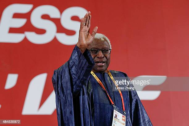 President Lamine Diack gestures after his speech during the 50th IAAF Congress at the China National Convention Centre CNCC on August 20 2015 in...