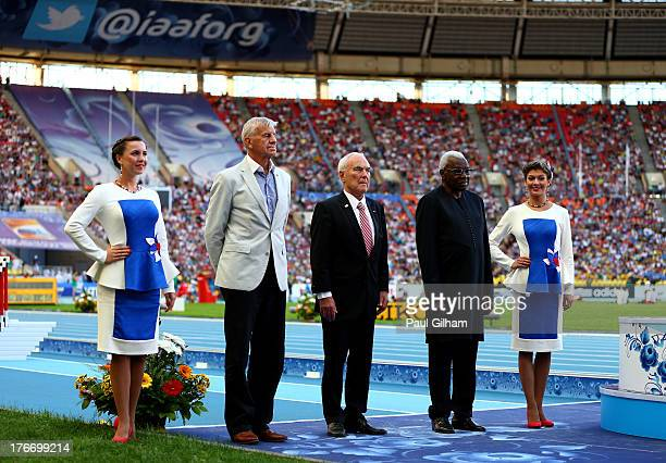 President Lamine Diack presents Igor Ter Ovanesyan with the fairplay award during Day Eight of the 14th IAAF World Athletics Championships Moscow...