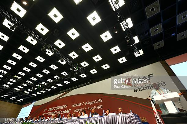 President Lamine Diack speaks during the 49th IAAF Congress World Athletics Forum at the Crowne Plaza on August 8 2013 in Moscow Russia