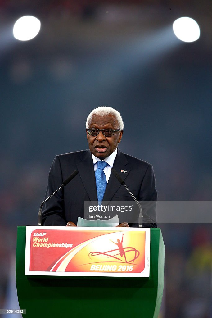 President Lamine Diack speaks during the closing ceremony during day nine of the 15th IAAF World Athletics Championships Beijing 2015 at Beijing National Stadium on August 30, 2015 in Beijing, China.