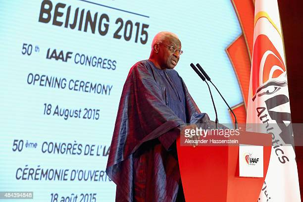 President Lamine Diack speaks during the IAAF Congress Opening Ceremony at the Great Hall of the People at Tiananmen Square on August 18 2015 in...