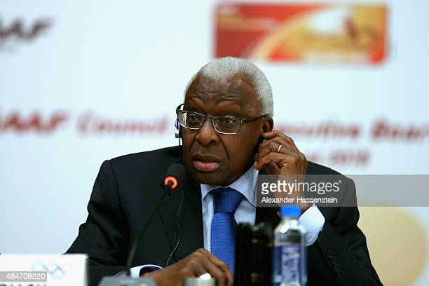 President Lamine Diack talks to the media during a press conference after the IAAF Council and IOC Executive Board meeting at Intercontinental...