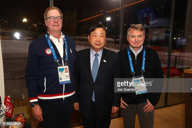 USOC President Larry Probst POCOG CEO and President Lee Heebeom and Alan Ashley pose for a photo at the USA House at the PyeongChang 2018 Winter...