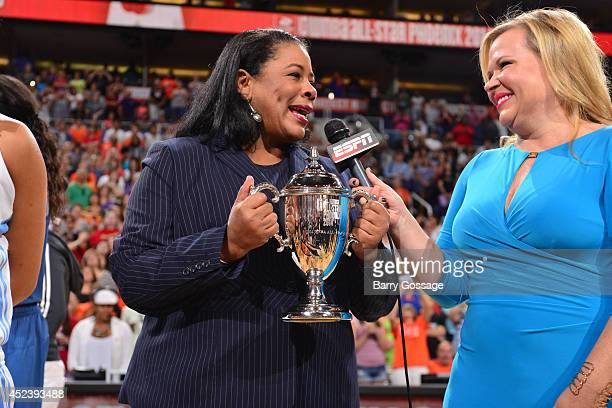 President Laurel Richie is interviewed by Holly Rowe of ESPN during the 2014 Boost Mobile WNBA AllStar Game on July 19 2014 at US Airways Center in...