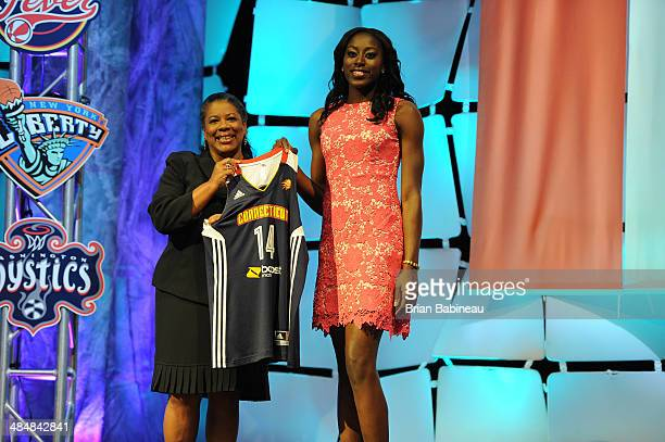 President Laurel Richie poses with Chiney Ogwumike after being drafted number one overall by the Connecticut Sun during the 2014 WNBA Draft Presented...