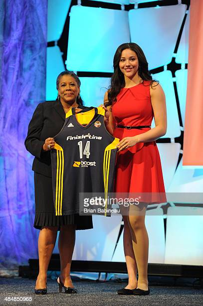President Laurel Richie poses with Natalie Achonwa after being drafted number nine overall by the Indiana Fever during the 2014 WNBA Draft Presented...