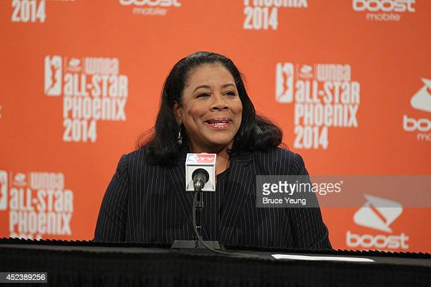President Laurel Richie talks to the media during the 2014 Boost Mobile WNBA AllStar Game on July 19 2014 at US Airways Center in Phoenix Arizona...