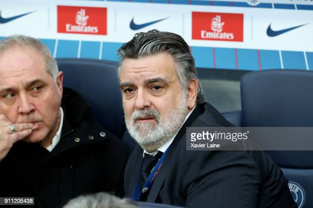 President Laurent Nicollin of Montpellier Herault SC during the Ligue 1 match between Paris SaintGermain and Montpellier Herault SC at Parc des...